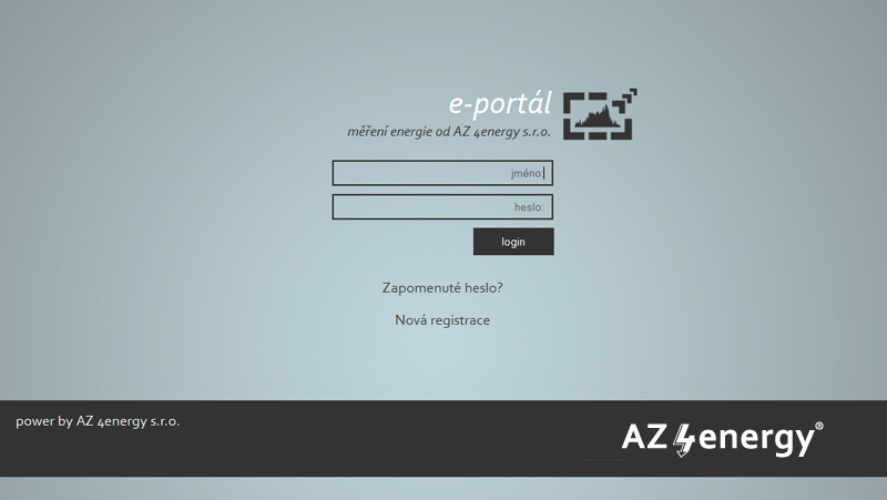 Přihlašovací obrazovka do portálu měření